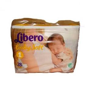 Libero Baby Soft Fraldas T1 - 2 - 4 Kg x 28