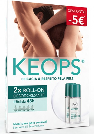 Roc Keops Deo Roll On 30 ml X 2