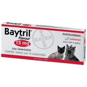 Baytril Palatável Comprimidos Cão e Gato 15 mg x 10 - 3 Kg