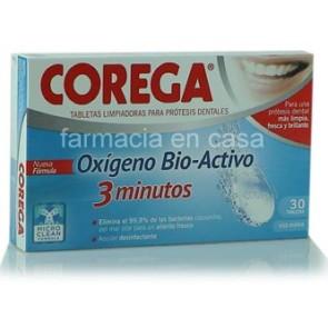 Corega Bio Activo Pastilhas Limpeza Prótese x 30